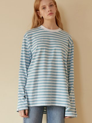 엽페(yuppe) STRIPE SLIT T-SHIRTS_SKY BLUE