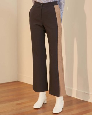 엽페(yuppe) SIDE CHECK PANTS_NAVY
