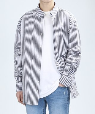 베리베인(veryvain) VERTICAL WASHING SHIRTS (DARK NAVY)
