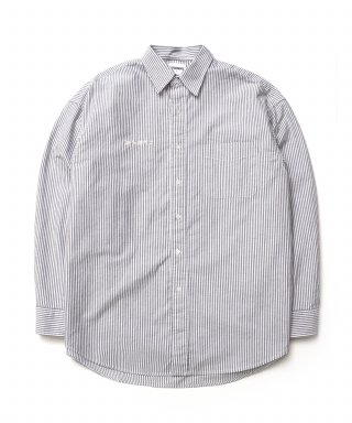 큐티에잇(qt8) KP Oxford Stripe Oversize Shirt (Black)