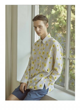 운무(woonmu) FLOWER STRIPE BIB SHIRTS_YELLOW