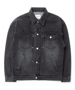 큐티에잇(qt8) KP Pleated Denim Jacket (Black)