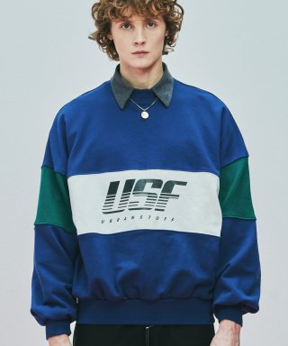 어반스터프(urbanstoff) USF Color Block Pace Logo Sweatshirts Sea