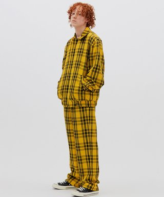 위캔더스(wkndrs) PLAID TROUSER (YELLOW)