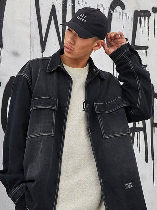 오버캐스트(overcast) Oversized Denim Shirt (Washed Black)