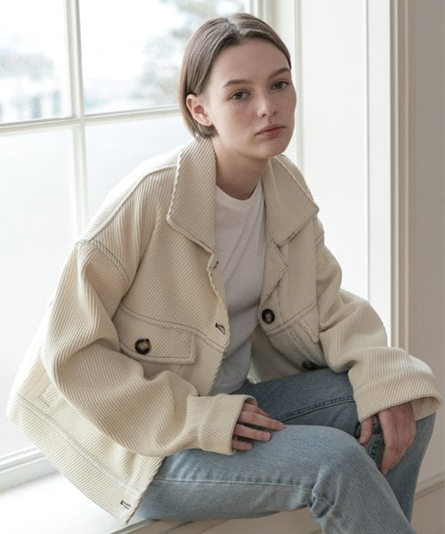 레이디 볼륨(LADY VOLUME) [남/여]wool cross trucker jacket_ivory