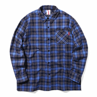 마하그리드(mahagrid) BACK LOGO CHECK SHIRT BLUE(MG1JSMW320A)
