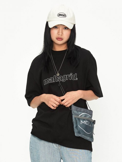 마하그리드(MAHAGRID) OUTLINE LOGO TEE BLACK(MG1JMMT508A)