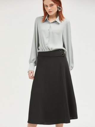 룩캐스트(lookast) BLACK TWO BUTTON FLARE LONG SKIRT
