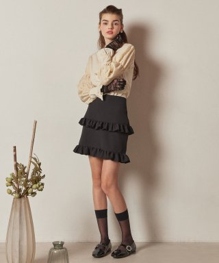 엠지엠지 스튜디오(mgmgstudio) double frill skirt_black