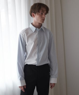 아람(aram) WL#27-1 STRIPE AND SOLID FABRIC MIXED OXFORD SHIRT