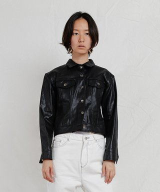 엔조 블루스(enzoblues) CRYSTAL TRUCKER JACKET (BLACK)