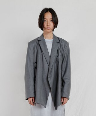엔조 블루스(enzoblues) WRAP BLAZER (GREY)