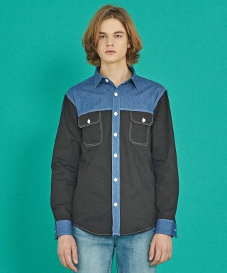 코케트 스튜디오(coquetstudio) COLOR BLOCK DENIM SHIRT