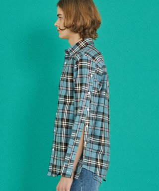 코케트 스튜디오(coquetstudio) MINT SB CHECK SLEEVE DETAIL SHIRT