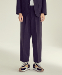 제로() Wide Two Tuck Crop Slacks Pants [Black]