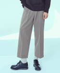 제로() Wide Two Tuck Crop Slacks Pants [Beige]