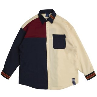 로맨틱크라운(romanticcrown) Color Block Shirt_Navy