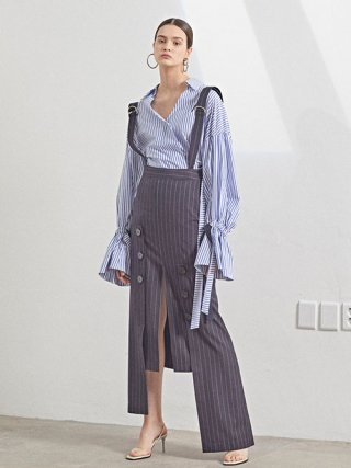 뮤제(musee) Mars Belted Balloon Sleeve Shirt_Blue stripe