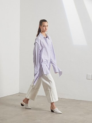 뮤제(musee) Rhea Sleeve Detachable Shirt_White stripe