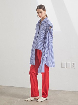 뮤제(musee) Rhea Sleeve Detachable Shirt_Blue stripe