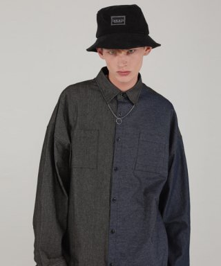 테이크이지(takeasy) DENIM MIX OVER SHIRTS (BLACK)
