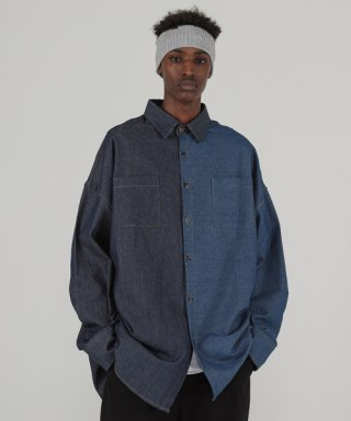 테이크이지(takeasy) DENIM MIX OVER SHIRTS (D/BLUE)