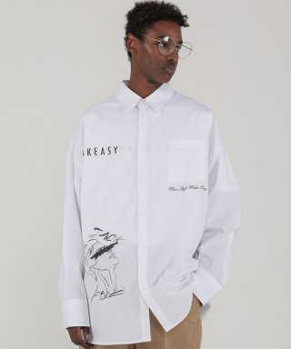 테이크이지(takeasy) DRAWING OVER SHIRTS (WHITE)