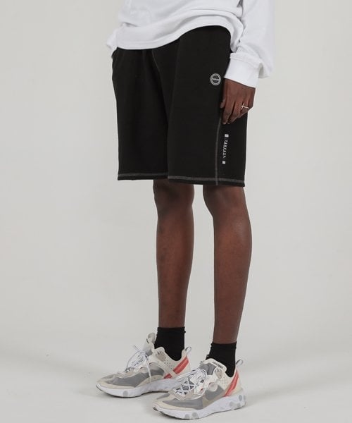 테이크이지(TAKEASY) CONTRAST SWEAT SHORT PANTS (BLACK)
