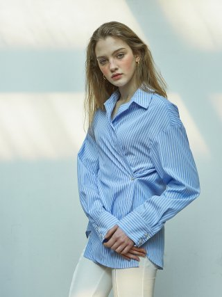 살롱 드 욘(salondeyohn) 2 Way Stripe Wrap Shirt_ Blue