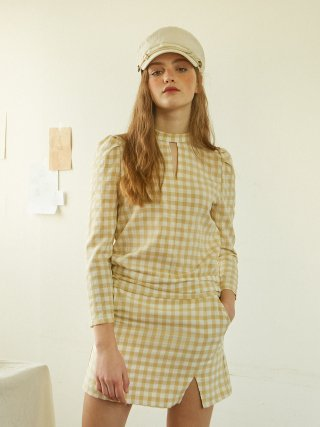 살롱 드 욘(salondeyohn) Gingham Check Blouse_ Beige