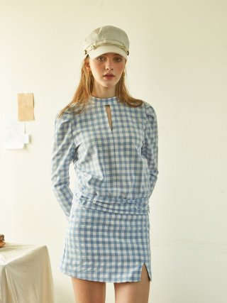 살롱 드 욘(salondeyohn) Gingham Check Blouse_ Blue