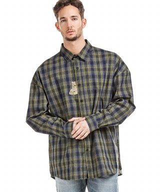 러기드하우스(ruggedhouse) BEAR EMBROIDERY CHECK SHIRTS 카키