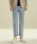 제로() Ankle Cut Washed Denim Pants [Ice Blue]