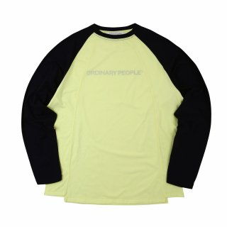 오디너리피플(ordinarypeople) cutting detail raglan sleeve light yellow t-shirt