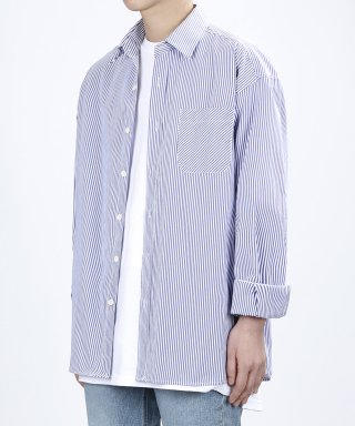 베리베인(veryvain) ROLL-UP VERTICAL SHIRTS (SEA BLUE)