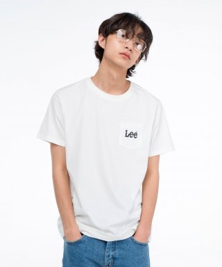 리(lee) 스몰 로고 포켓 반팔티 SMALL LOGO POCKET HALF TEE-WHITE