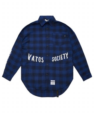 스티그마(stigma) MUSK OVERSIZED CHECK SHIRTS BLUE