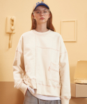 버닝() Unbal Stitch Sweatshirt (Cream)
