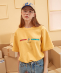 버닝(BURNING) Lettering color T-shirt (Yellow)
