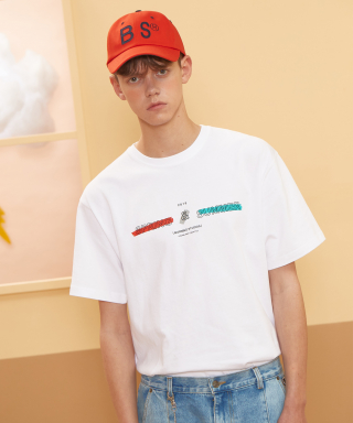 버닝(burning) Lettering color T-shirt (White)