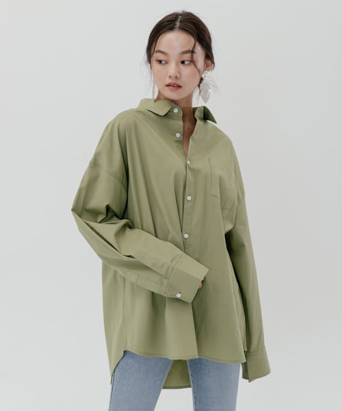 레이디 볼륨(LADY VOLUME) [남/여]overfit color shirt_green