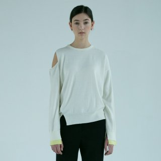 던스트(dunst) LUNA SHOULDER SLIT SWEATER (OFF WHITE) UDSW9E201OW