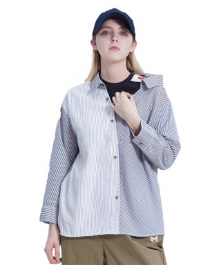 메리먼트(merriment) Lovely M Stripe Shirt (BLACK)