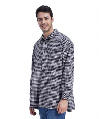 메리먼트(merriment) (UNISEX)MMM Long Over Check Shirt (BLACK)