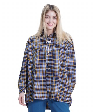 메리먼트(merriment) (UNISEX)MMM Long Over Check Shirt (SKY BLUE)