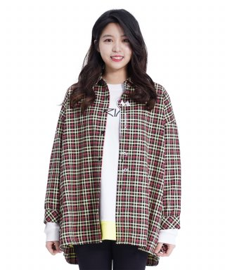 메리먼트(merriment) (UNISEX)MMM Long Over Check Shirt (L/GREEN)