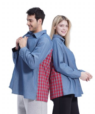 메리먼트(merriment) (UNISEX)Blue Color Boxy Shirt