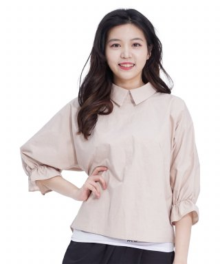 메리먼트(merriment) Lovely M Back Opening Blouse (BEIGE)