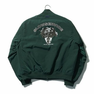 슬로우서비스(slowservice) FLOWER STADIUM JACKET - FROST GREEN